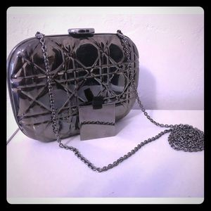 DIOR Rare Quilted Cannage Silver Metal Clutch Bag